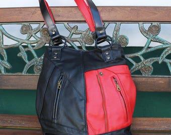 Leather bag, shoulder bag, Upcycling