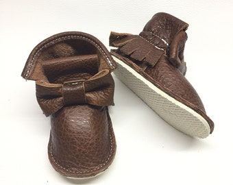 High top moccasins with bow Genuine Leather Mini Boots Baby Moccasins Shoes with hard rubber sole