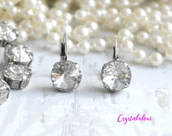 Clear Earrings, Crystal Earrings, Swarovski Earrings, Dangle Earrings, Drop Earrings, Bridal Earrings, Bridesmaid Earrings, Grey, Fashion.