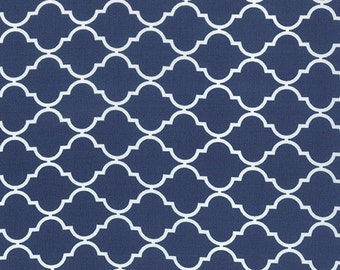 Navy Blue and White Quatrefoil Patterned Fabric - Quattro Piccolo by Moda 1/2 Yard