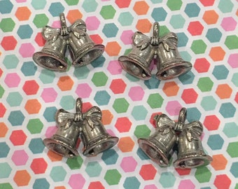 Bells Charms -4 pieces-(Antique Pewter Silver Finish)