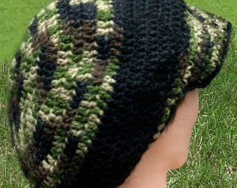 Camoflauge Crochet Tam with Brim Custom Made To Order