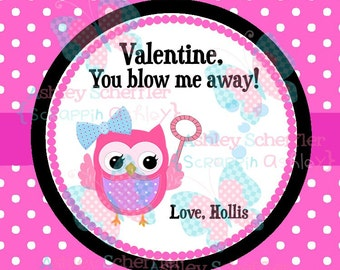 Valentine's Day Tag. You Blow me Away. Bubble Valentine. Class Valentines. Printable Tag. PDF File. . Personalized.Square Tag. Pink.  Heart.