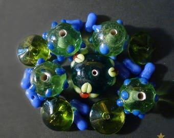 Indian, green, blue, set of 18 lampwork glass beads