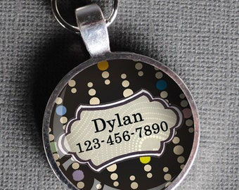 Multi-color, white, and black dotted Pet iD Tag colorful round Dog Tag 35mm round -  by California Mutts