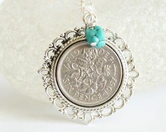 December birthday gift. Birthstone necklace. Turquoise birthstone necklace.  Birth stone jewelry. Birth year gift. Birthday gift woman