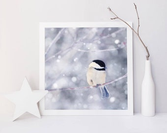 Winter Photography Bird Print, Winter Art, Animal Photography, Nature, Art Print, Woodland Animal, Wall Art, Chickadee in Snow No. 10