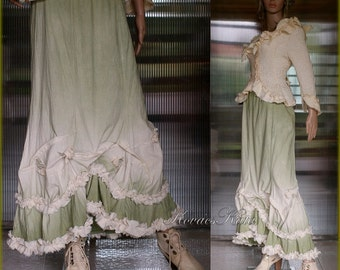 Romantic Hand Dyed Long Linen Skirt with Frills and Roses Art to Wear OOAK