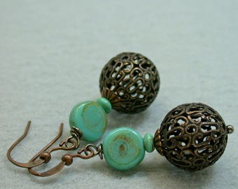 Vintage German Turquoise Glass Dangle Drop Bead Earrings, Vintage Ornate Filigree Bronze Bead,Vintage Copper Ear Wires - GIFT WRAPPED