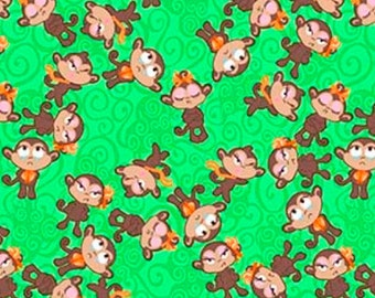Monkeys, Sassy Monkey, Green Fabric, Monkey Fabric, Green Monkey Fabric, 01858