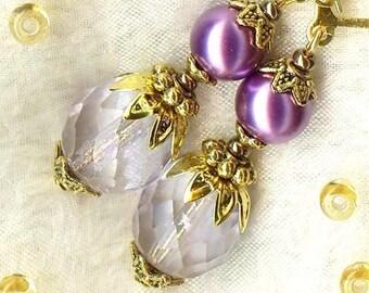 Earrings BAROQUE ♥ ♥ Lavender Purple Crystal Bohemian Pearl OR263