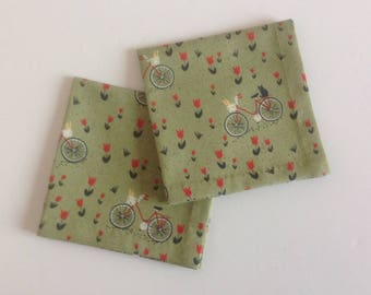 Cloth Cocktail Napkins, Beverage Napkins, Black Cat, Bicycle, olive green napkins - set of 6 or 8