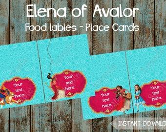 Princess Elena Food Labels, Elena of Avalor Editable Food Tent Tags, Elena of Avalor Printable Place Cards, Elena of Avalor DIY Food Labels