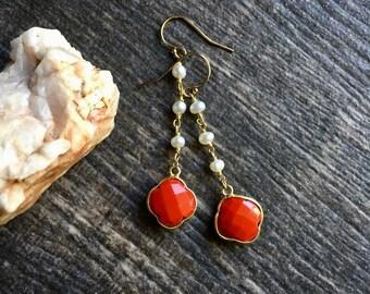 Dangle Pearl Earrings,Coral Earrings,Coral Earrings Gold,Gold Coral,Gold Pearl Dangles,Coral Jewelry,Gold Pearl Earrings,Beachy Jewelry,Boho