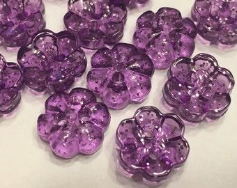 10 glitter translucent purple flower buttons, 13 mm (11)