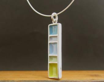 Longitude Necklace - New Century Modern - Blue and Green Reversible Enamel Necklace