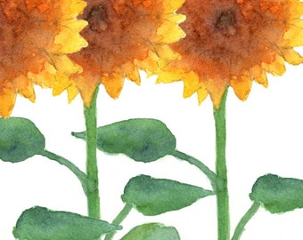 Sunflowers/Greeting Card/Note Card/Watercolor/Blank/Local