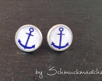 Earrings silver anchor blue