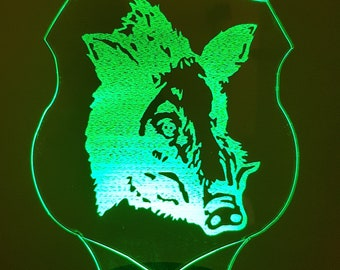 Lamp 3D pattern: wild boar