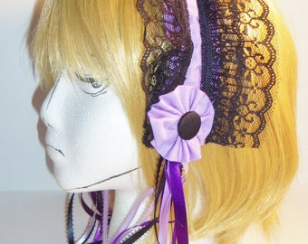Lolita Maid Lace Headband Light Purple and Black with Ribbons and Rosettes (B)