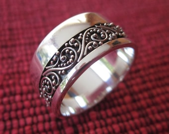 Balinese Sterling Silver granulation technique ring band / silver 925 / Bali handmade jewelry / request your size