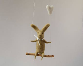 Swinging Bunny, Felt Animal, Nursery Decoration Taupe,Gray Needle Felted Bunny, Hanging Bunny, Baby Mobile
