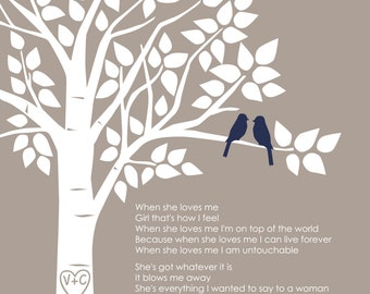 """Custom First Dance Song Lyrics or Wedding Vows Love Birds Family Tree - First Anniversary Paper Gift - 8""""x10"""" (Taupe/Navy Blue))"""