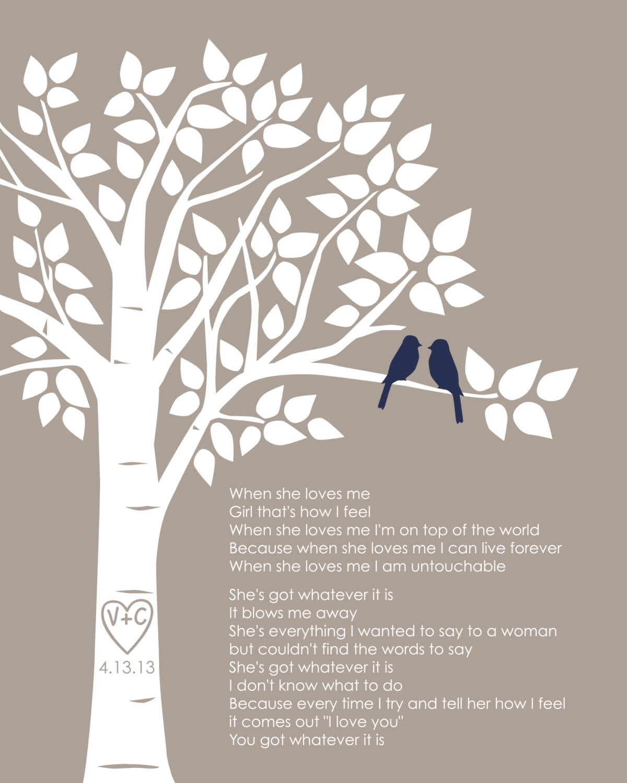 Wedding Tree Vector: Custom First Dance Song Lyrics Or Wedding Vows Love Birds