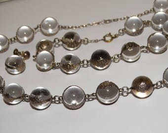 1910's Sterling Silver Pools of Light Undrilled Necklace Bracelet & Screwback Earrings.