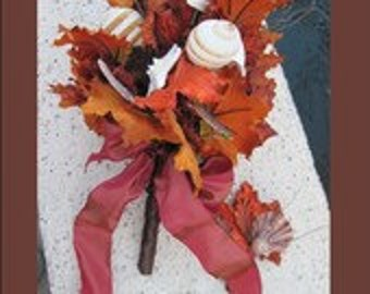 Fall Wedding + Shell Bridal Bouquet + Fall Leaves + Seashells + Fall Bouquet and Boutonniere - Set + One of a Kind