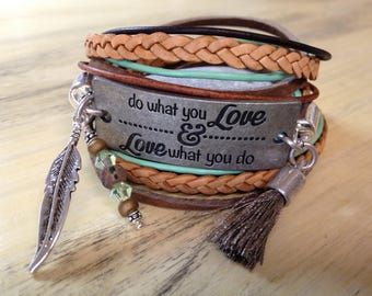 Message Bracelet with Quote Bracelet Motivation Bracelet Inspiration Jewelry Graduation Gift Leather Wrap Bracelet Gypsy Wrap Bracelet