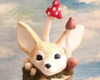 Foxy! -Fennec fox and mushroom sculpture