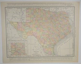 1911 Antique Texas Map