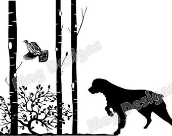Private Listing for magjscarr21  Vinyl Car Decal - Brittany Spaniel - Dog with Flushing Grouse & Trees - Dog Decal - Animal Stickers - white