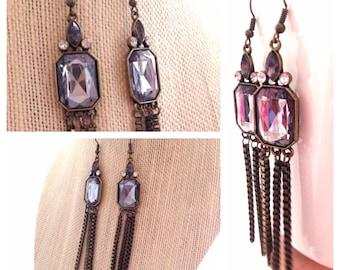 Gold Tassel Earrings, Smokey Quartz Dangles Rhinestone Vintage Gold
