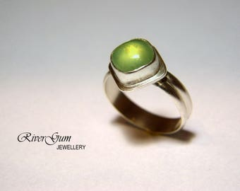 Green Prehnite Ring, Sterling Silver Ring, Gemstone Ring, Size 6 & 1/2 or Size N, Square Stone, Metalwork by RiverGum Jewellery