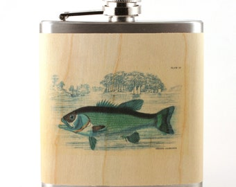 wood fishing Flask- unique gift sportsman - fisherman