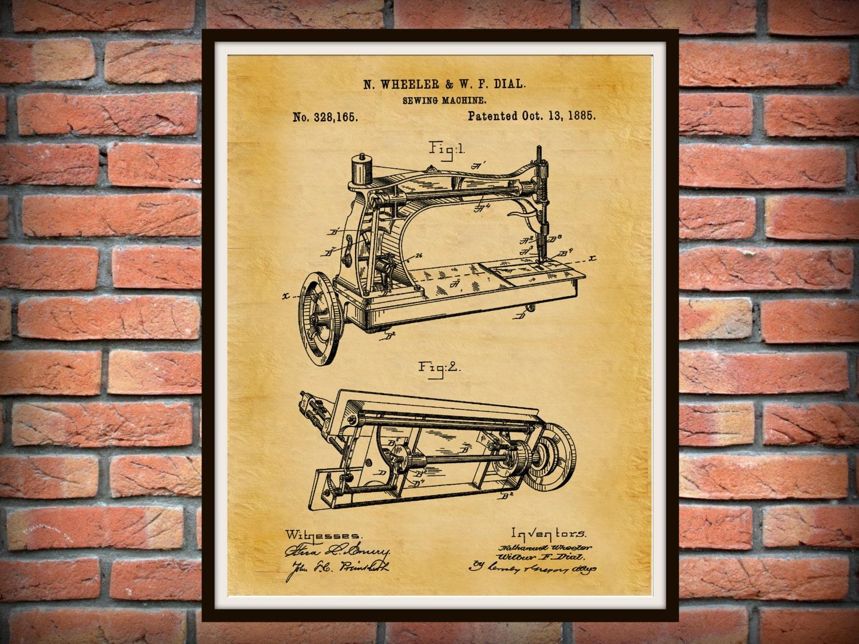 Patent 1885 Sewing Machine Art Print Poster Print Wall Art