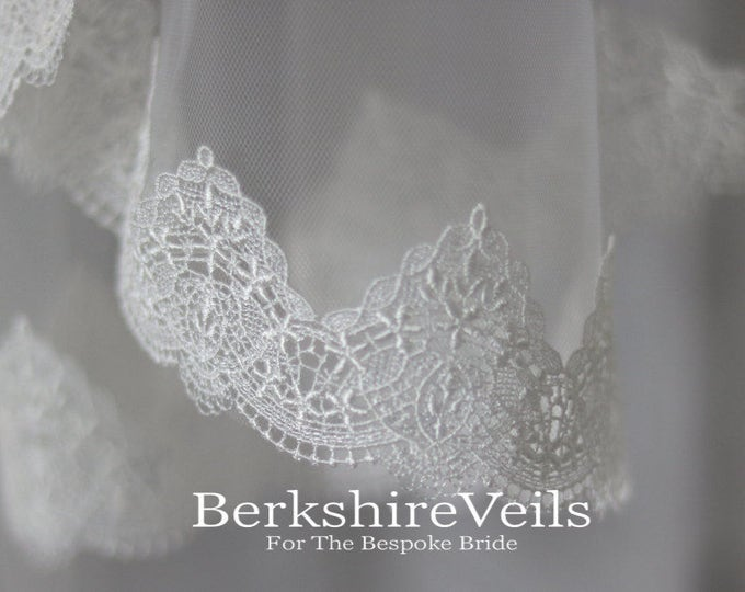 Chapel Length Ivory Veil With A Venice Lace Trim | Chapel Veil with Lace