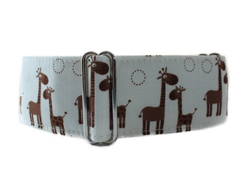 2 Inch Martingale Collar, Giraffe Martingale Collar, Giraffe Dog Collar, Brown Dog Collar, Made in Canada, Sighthound Collar