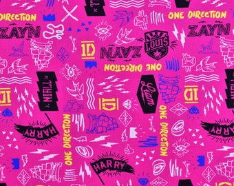 One Direction Fabric 1D Names and Doodles in Pink From David Textiles 100% Cotton