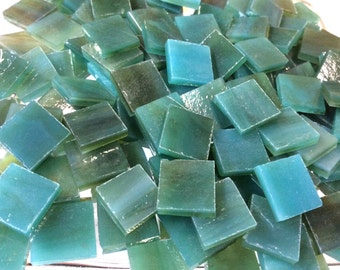 100 3/8 AQUA BLUE Opal & LIME Transparent Stained Glass Mosaic Tile A38