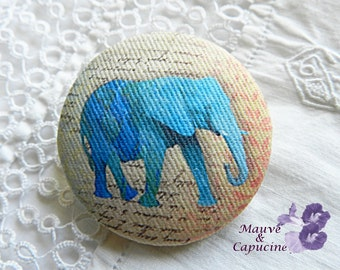 Fabric button, printed elephant,  0.86 in / 22 mm