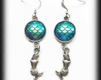 Mermaid Scales Earrings, Fantasy Mythical Jewelry, Blue Mermaid Tail Earrings, Alternative Jewelry, Handmade Jewellery, Cosplay Jewelry