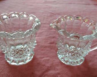 Crystal Diamond Cut Creamer and Sugar Bowl