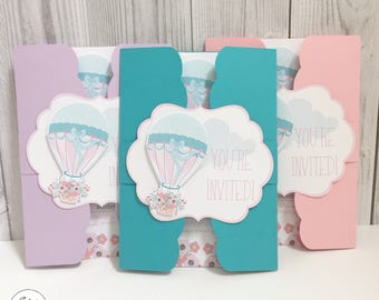 Baby Shower Invitations - Hot Air Balloon 5x7 - Gatefold - Birthday Party - Teal - Pink - Lavender