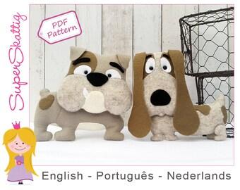 Felt pattern Bob & Eddy, softie pattern for a dog, plush pattern bulldog, pdf sewing pattern animal by Superskattig