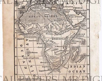 Antique Map / Antique Book Page / Africa Map / Map Print / Digital Instant Download / Antique Schoolbook / Old Map / Old Africa Map
