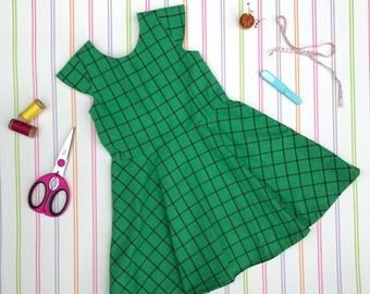 Organic plaid dress, girls green dress, plaid dress, swing dress, girls cotton dress, everyday dress, Christmas dress, gifts for girls, gift