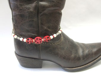 Boot Jewelry Sugar Skull Bracelet Day Of The Dead Red White